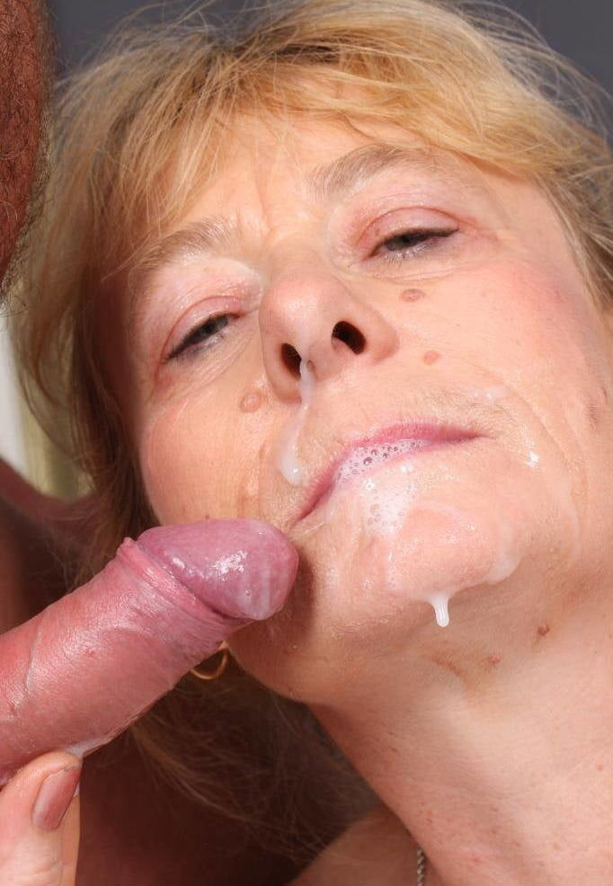 Horny Granny Eats Cum In Public