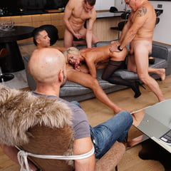 Mature Hairy Wife Gets Gangbang In Front Of Cuckold