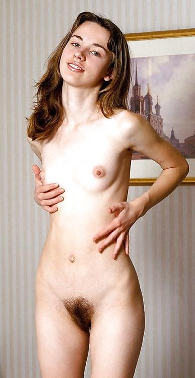 Small Breasts Girl Open Vulva And Full Bush