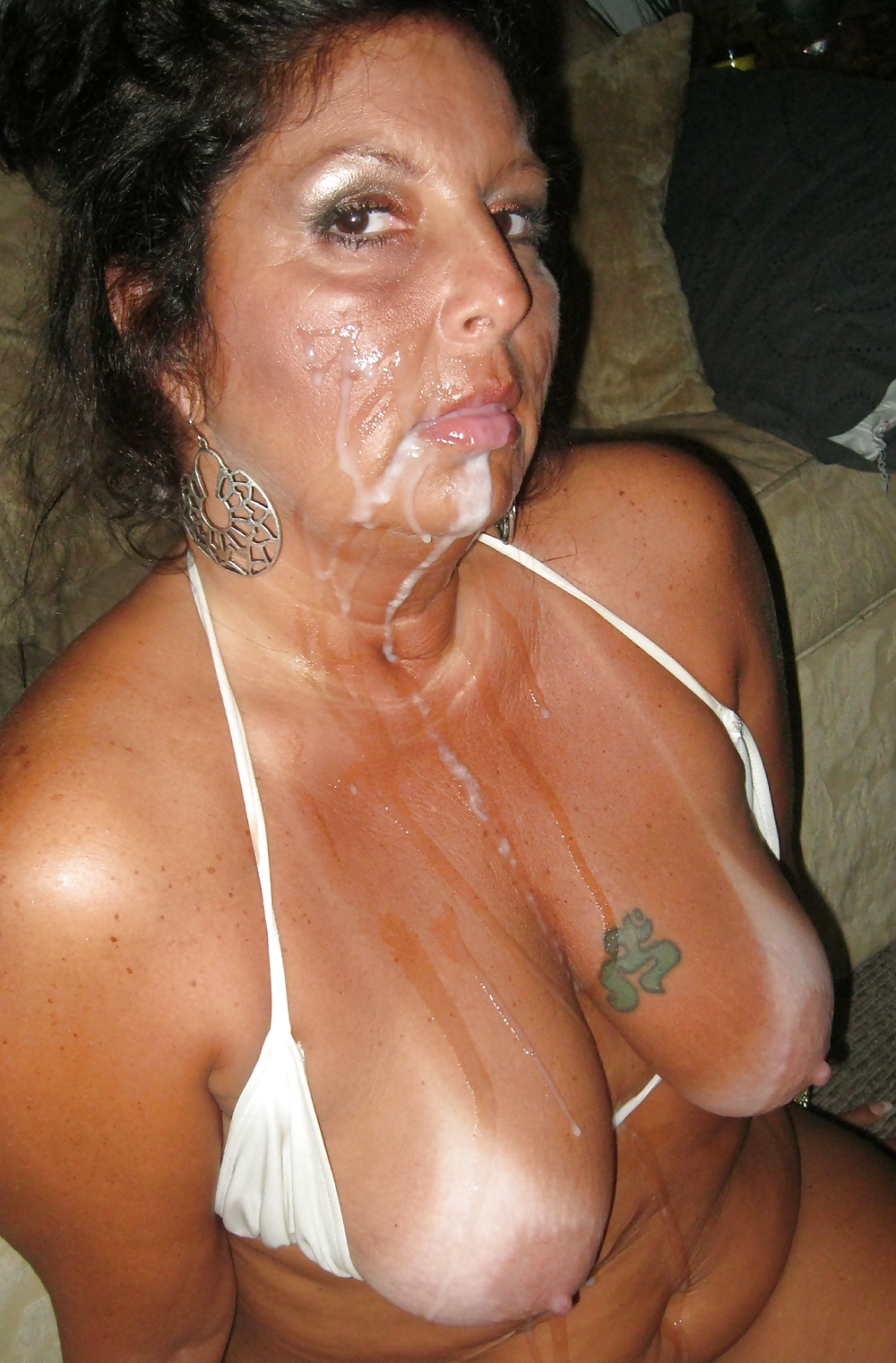 Mature milfs face covered