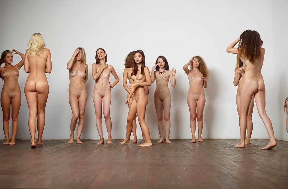 Asian naked girls posing together bikini party
