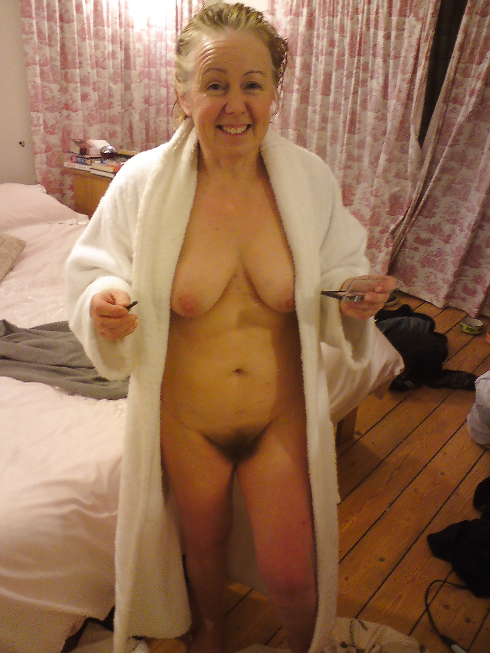 Front and back of nude mature wife