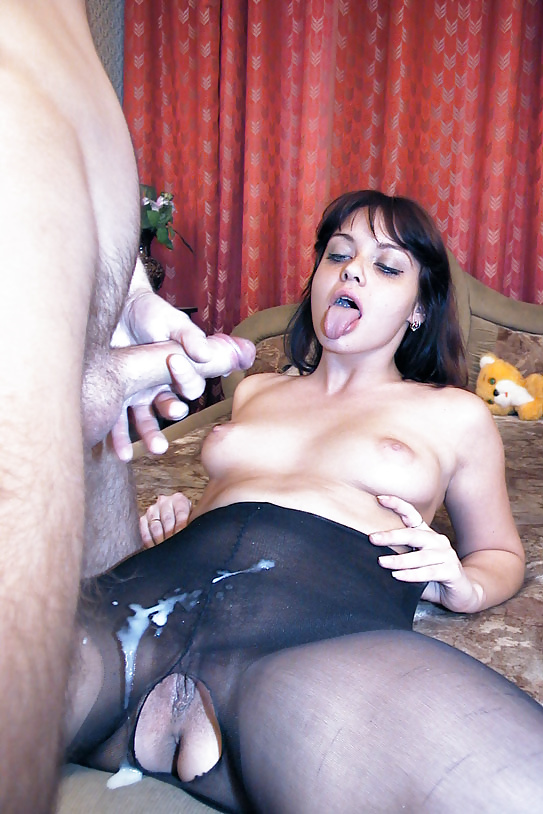 порно фото женщин в чулках и спермой на лице ничего