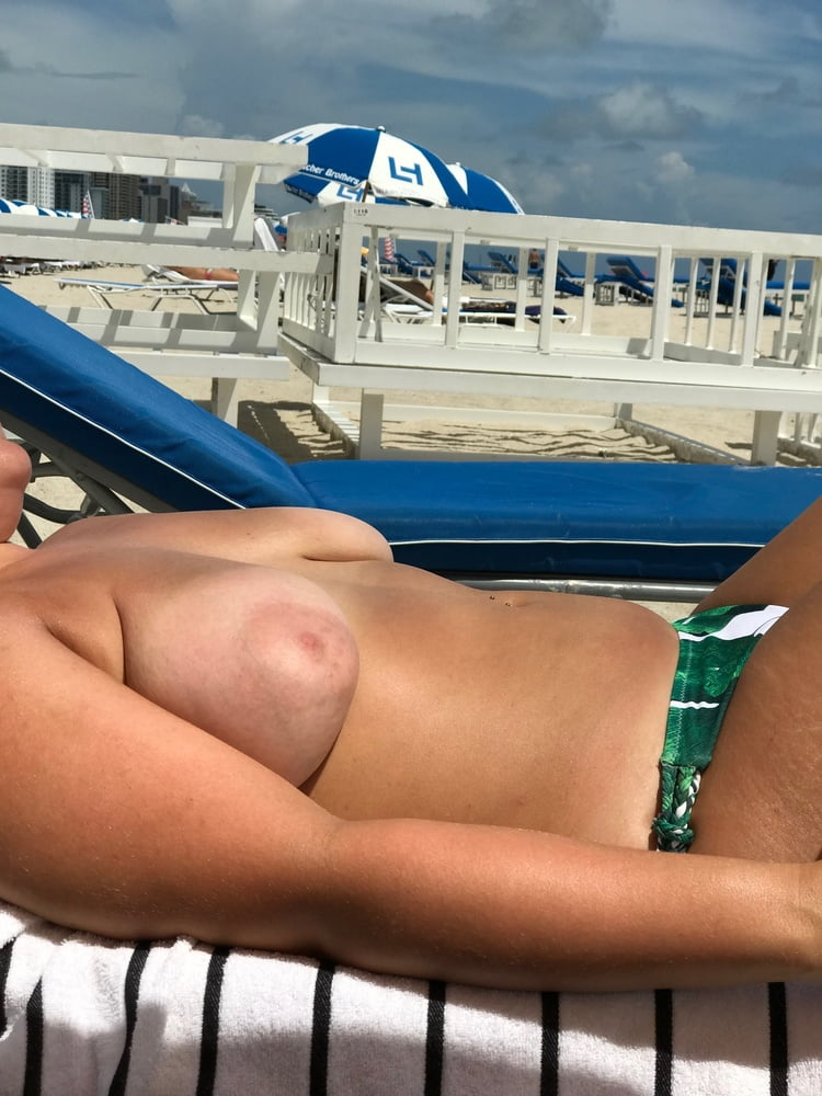 Amateur Big Tit Wife Topless On Public Beach Vacation 1