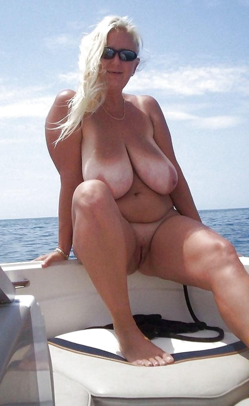 Older milf shorts boat 1